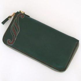 写真:革草模様の入った、ファスナーで大きく開閉できるラウンドファスナータイプの長財布